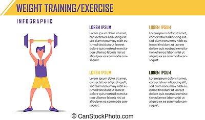 ベクトル, 重量, infographic, 訓練