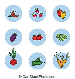 ベクトル, 野菜, セット, illustration., アイコン