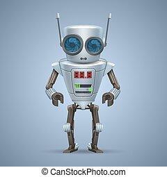 ベクトル, 金属, robot.