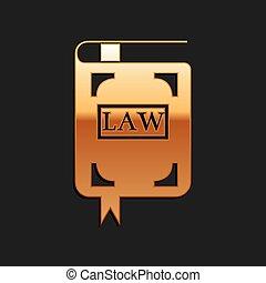 ベクトル, 金, 影, style., バックグラウンド。, 法律, 法的, 判断, 隔離された, アイコン, 本, 長い間, concept., book., 黒, 裁判官
