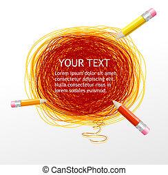 ベクトル, 鉛筆, そして, テキスト