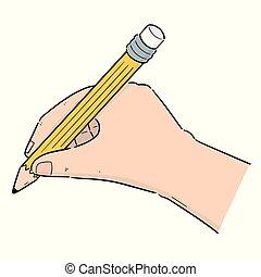 ベクトル, 鉛筆, セット, 手の執筆