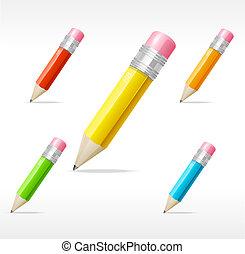 ベクトル, 鉛筆, セット