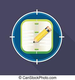 ベクトル, 鉛筆, ノート, イラスト, アイコン