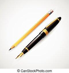 ベクトル, 鉛筆, pens., イラスト
