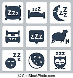 ベクトル, 隔離された, 睡眠, 概念アイコン, set:, 枕, ベッド, 月, sheep, フクロウ, zzz
