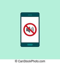 ベクトル, 離れて, smartphone, アイコン, screen., 無声, モード, 音, icon.