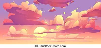 ベクトル, 雲, 空, 日没, 漫画