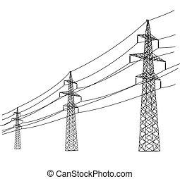 ベクトル, 電圧, シルエット, 高い発電, lines., illustration.