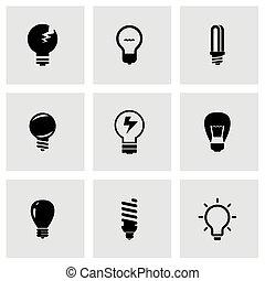 ベクトル, 電球, セット, 黒, アイコン