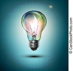 ベクトル, 青い背景, lightbulb