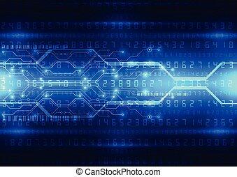 ベクトル, 青, デジタルの技術, 抽象的, 背景, イラスト