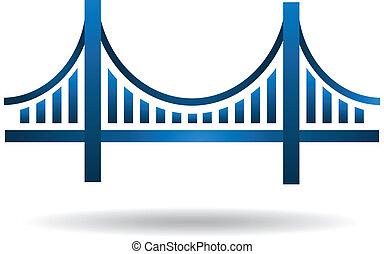ベクトル, 青, 橋, ロゴ