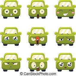 ベクトル, 面白い, セット, emoticons., 自動車
