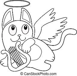 ベクトル, 面白い, 線である, 翼, かわいい, flight., 遊び, 特徴, book., ねこ, 乱雲, 漫画, -, リラ, outline., 着色, harp., 天使, キューピッド