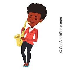 ベクトル, 音楽家, サクソフォーン, illustration., 遊び