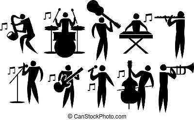 ベクトル, 音楽家, セット, アイコン