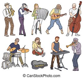 ベクトル, 音楽, イラスト, スケッチ, 漫画, 隔離された, set., 通り, 遊び, 音楽家