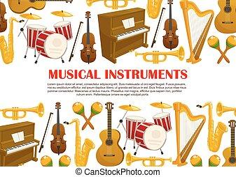 ベクトル, 音楽, ポスター, の, 楽器
