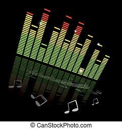 ベクトル, 音楽, equaliser, グラフ, ∥で∥, メモ, そして, スタッフ, 上に, 黒い背景