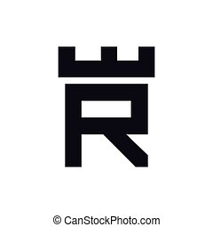 ベクトル, 頭文字, r, テンプレート, ロゴ, 城, 要塞