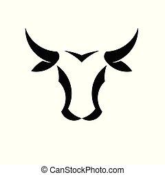 ベクトル, 頭, 抽象的, ロゴ, 雄牛, 単純である