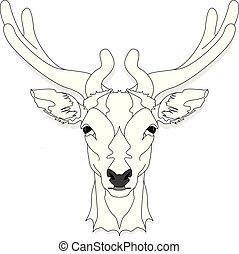 ベクトル, 頭, 鹿, 背景, 隔離された, 白, 定型, モノクローム, イラスト