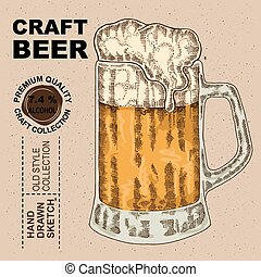ベクトル, 飲みなさい, beer., アルコール, ガラス, 手, 引かれる, イラスト, スケッチ