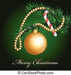 ベクトル, 飾られる, クリスマス, モミ