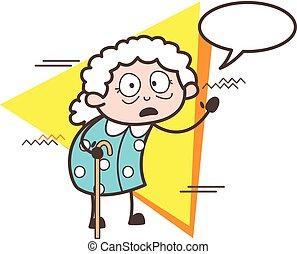 ベクトル, 驚かされる, 漫画, スピーチ, イラスト, おばあさん, 泡