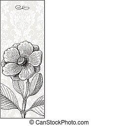 ベクトル, 高い, 花, 黒い背景
