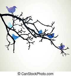 ベクトル, 鳥, ブランチ
