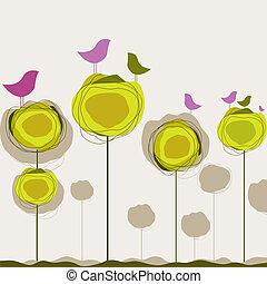 ベクトル, 鳥, 木。, 背景, イラスト