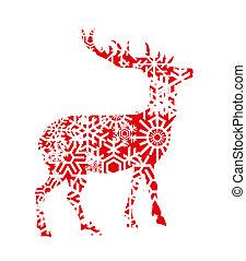 ベクトル, 鹿, クリスマス, 背景