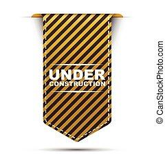 ベクトル, 黄色, 建設, デザイン, 下に, 旗