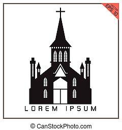 ベクトル, 黒い背景, 教会, 白, アイコン