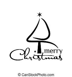 ベクトル, 黒い背景, 白いクリスマスツリー, イラスト