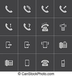 ベクトル, 黒い電話, アイコン, セット