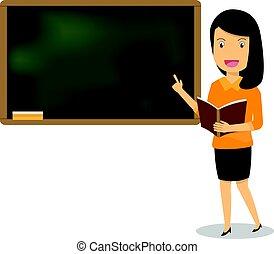 ベクトル, 黒板, 提示, 若い, イラスト, 本, 女性, board., レッスン, 教育, 教師, classroom.