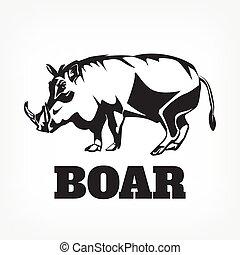 ベクトル, 黒, イラスト, boar.
