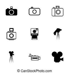 ベクトル, 黒, カメラ, セット, アイコン