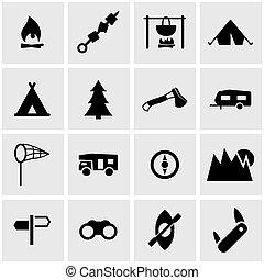 ベクトル, 黒, キャンプ, アイコン, セット