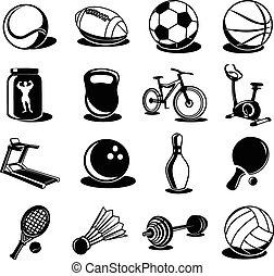 ベクトル, 黒, スポーツ, セット, アイコン