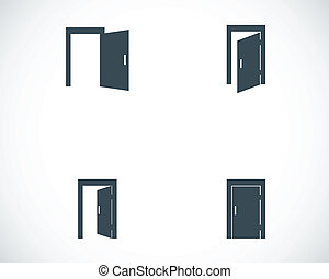 ベクトル, 黒, セット, ドア, アイコン