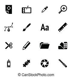 ベクトル, 黒, セット, 写実的な 設計, アイコン