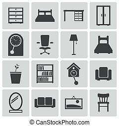 ベクトル, 黒, セット, 家具, アイコン