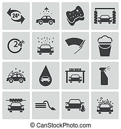 ベクトル, 黒, セット, 洗いなさい, 自動車, アイコン