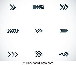 ベクトル, 黒, セット, 矢, アイコン