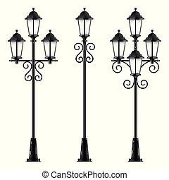 ベクトル, 黒, セット, 通り, lamps.