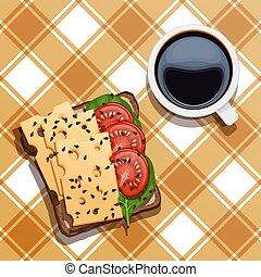 ベクトル, 黒, チーズ, checkered, breakfast., カップ, tablecloth., 白, ほうれんそう, コーヒー, トースト, 食物, イラスト, サンドイッチ
